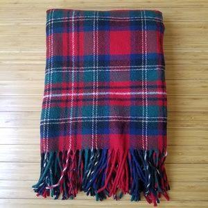 Pendleton Red Green Tartan Fringed Wool Throw Blan